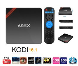 Wholesale A95X Android Marshmallow K TV Box Amlogic S905X Mini PC KODI16 Pre installed Small Smart Beats MXQ Pro With Learning Remote