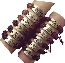 wholesale unisex gifts jewelry ZODIAC charm plate leather bracelet mens bracelets for women