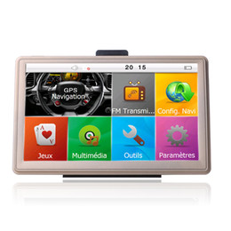 Wholesale HD inch Car GPS Navigation Capacitive Touch Screen Truck Navigator Bluetooth Hands Free AVIN SAT NAV MP4 FM MB GB IGO Primo