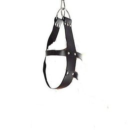 Genuine Leather Head Suspension Harness Mask Hanger w D Ring Bondage Restraint Adult game, sex game equipment