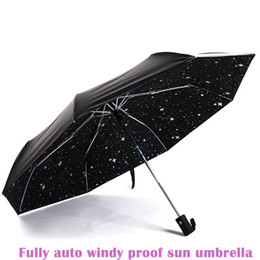 Wholesale 2016 three folding compact lady Anti uv women girl male female fully auto open close fashion sunshade black coat sunny umbrellas