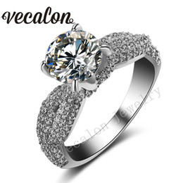 Vecalon Dinosaur claw Set 3ct Topaz Simulated diamond Cz Female Wedding ring 14KT White Gold Filled Engagement Band for Women