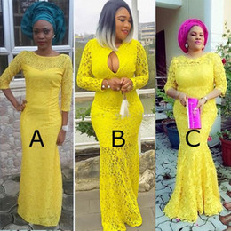 Afric Yellow Lace Mermaid Formal Evening Gowns 4 Styles 3 4 Long Sleeves Jewel Neckline Floor Length Prom Dress vestidos de novia
