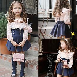 Wholesale 2016 New Cute Ruffles Long Sleeve Shirt Gallus Skirt Children Girls Dresses Sweet Girls Princess Pink Blue Dress Outfits MC0148