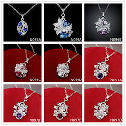 Brand new fashion women's gemstone 925 silver necklaces pendant 10 pieces mixed style,cheap sterling silver pendant necklaces GTN1