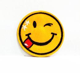 Wholesales 10 Pieces Cartoon Happy Smile Face (5.5 cm x 5.5 cm) Kids Patch Embroidered Applique Iron On Patch (P)