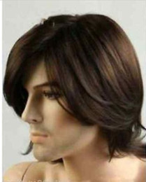 100% Brand New High Quality Fashion Picture full lace wigs>>Fashion wig New sexy Men's Medium long Dark Brown Cosplay Natural Hair Wigs