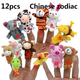 Wholesale Chinese Toy Sales - Wholesale-12pcs lot Hot Sales Chinese Zodiac Gift Animals Cartoon Biological Finger Puppet Plush Toys Dolls Child Baby Favor Finger Doll