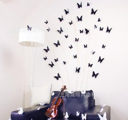 Wholesale 3D three dimensional crystal butterfly fridge Black magnet Aisle Wall Stickers new European and American fashion