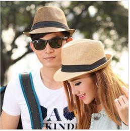 Sombreros casual para los hombres en venta-Summer Fedora Trilby Beach Sombreros para hombres y mujeres Grass Straw Panama Wide Brim Topee para niños