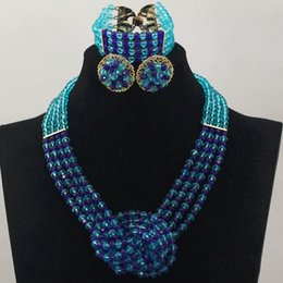 sky & royal blue pendants bridal jewelry set indian crystal necklaces jewelry set african fashion jewelry wholesale price for wedding gift