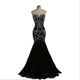 Real Photo New Style Lace Up Back Black Dress Evening With Beads Ladies Party Sweetheart Evening Gown Charming Design Free Shipping Long