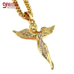 2016 Fashion 18K Gold Plated Punk Angel Wind Hip Hop Pendant Necklace Angel Chain Necklace Jewelry For Men Women Gifts