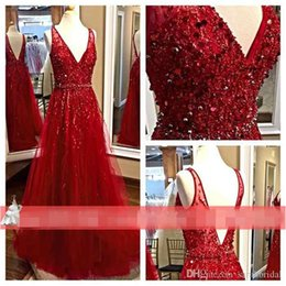 Wholesale Elie Saab Prom Dresses Red Tulle Beautiful Luxury Beading Sequined Bodice Sexy V Neck Long Maxi Bridal Evening Gowns Formal Wear