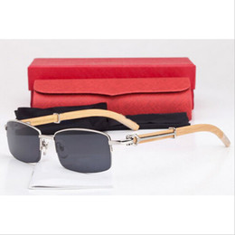 Wholesale 2016 Brand Designer Half Frame Men Women Optical Glasses Retro Gold Metal Frame Wooden Bamboo Buffalo Horn Sunglasses with Original Boxes