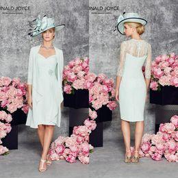 Wholesale Ronald Joyce Lace Mother Of The Bride Groom Dresses Scoop Neckline Knee Length Plus Size Short Prom Dress Half Sleeves Evening Wear