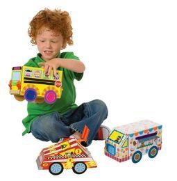 Wholesale My Crafty Cars Easy Crafts Art Sticker Kids Children kindergarten Creative Activity DIY D Model Toys