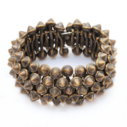 Wholesale Gothic Punk Rock Studs Spike Rivets Shaped Stretch Bracelets For Women Silver Nickel Bronze For Choosing