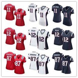Wholesale Women Stitched Patriots Tom Brady Rob Gronkowski Julian Edelman White BLue Red Jerseys cheap rugby t shirts Size S XL