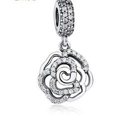 2016 925 Sterling Silver Rose Flower Shape European Charms Bead Fit Pandora Snake Chain Bracelets Bangles Pendant DIY Jewelry Loose Beads