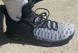 2017 kds blanc Chaussures pas cher KD9 IX Oreo Noir Blanc Sneakers 2016 Nouveaux KD 9 Pre-Heat Loup Gris Hommes Kd Basketball à vendre USA size7 ~ 12 abordable kds blanc