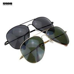 Or gros cadres lunettes à vendre-Cadre gros-Men Pilot Marque Lunettes de soleil d'or Black Metal Glasses Classic Stainless Steel Lunettes de soleil Oculos Masculino SG002