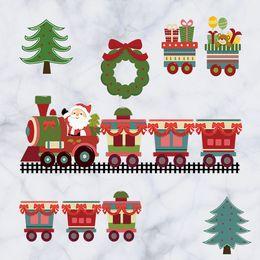 Wholesale Cartoon Santa Claus gift train Christmas DIY Generic Decal Wall Sticker Kids Room Decor Mural living room vinyl Inspiration art
