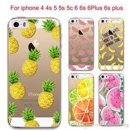 Wholesale Hot Fruit Pineapple Lemon Banana Soft Silicon Transparent Case Cover For Apple iPhone S S SE C S Plus sPlus Coque