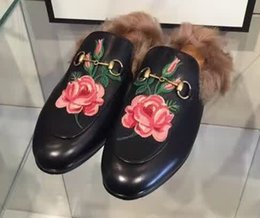 Wholesale 2016 Warm Wool Winter Flats New Princetown Fur Lined Leather Slippers Flower Embroidery Brand Women Loafers FW16