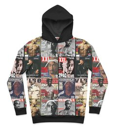 Wholesale 2 Colors Real USA Size Best of Tupac D Sublimation print fleece Hoody Hoodie Plus Size