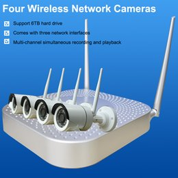 Four wireless network cameras HD Monitoring equipment Set With screen WIFI surveillance camera set For Household and Shop Support 6TB hard d