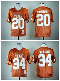 Wholesale 2016 Texas Longhorns Jersey NCAA College Retro Ricky Williams Football Jerseys Earl Campbell Throwback Orange Team Color High Quality