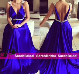 Gorgeous Royal Blue Evening Dresses Backless A-Line Deep V-Neck White Appliques Long Prom Gowns Arabic Dubai Party Wear New Custom Made