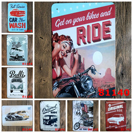 Wholesale Hot sales quot WV bus classic cars quot retro iron metal wall painting Tin signs Vintage poster Art House Cafe Bar wall stickers home decor x30CM