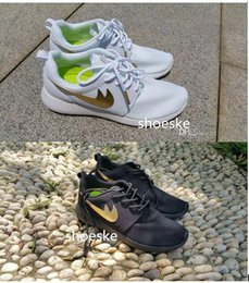 Wholesale 2016 Roshe Run all Black all White with Gold factory outlet Men s Women s Lover Original Running Sport Shoes Size US5 US10
