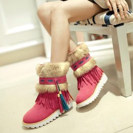 Wholesale Women Flats tassel Colorful Snow Boots Half Knee Plush Fashion Boots Warm Winter Boots for Women