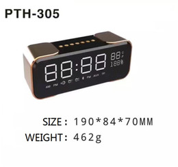 2017 boîte de haut-parleur de radio New Premium Surround Wireless Speaker Box Horloge LED Display Radio FM réveil TF Chambre Mini Wireless Speaker PTH305 boîte de haut-parleur de radio sur la vente