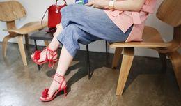 high quality~b100 34 4 colors genuine leather tassel heels sandals celebs designer women fashion black blue red