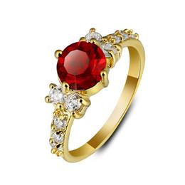 Acheter en ligne Assiettes en porcelaine pour-Factory Price Copper Gold plaqué anneaux en cristal pour femmes Mariage Bride Ring Jewelry 20pcs lot en gros de Chine Livraison gratuite