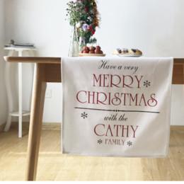 Wholesale Christmas Theme Table Runner White Cotton cm Top Grade Table Flag European style Home Textiles MOQ Piece