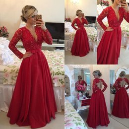 Wholesale Sexy Cut Out Skirts - Stunning Long Sleeve Evening Gowns Deep V Neck Sheer Cut Out Back Beaded Lace Bodice A Line Chiffon Skirt Burgundy Prom Dresses