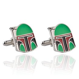 Wholesale Men s Cufflinks Awesome Movie Star Wars Boba Fett Helmet French Cuff Links for Mens Wedding Groomsmans Gift For Men very wery good quality
