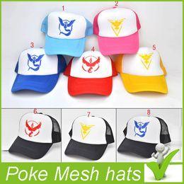 Wholesale Pokémon go Poke Mesh hats Hip Hop Baseball caps Adult cotton caps Ash Ketchum cos jaguartee
