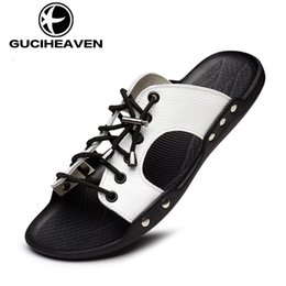 Wholesale 2016 fashinal guciheaven Mens slippers leather shoes flip flops beach shoes black yellow white drop shipping