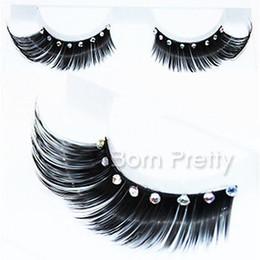 Promotion cils de scène Gros-1 Paire Curly épais strass Faux cils pour le maquillage Party Beauty étape Eye Z06