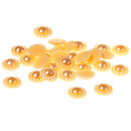 8 AB Colors 12mm 100pcs Half Round Pearls Imitation Glue On Sun Flower Non Hotfix Resin Beads For Crafts Fabric Garments Decorations