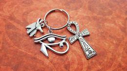 Wholesale 12pcs Egypt Traveller Keyring Egypt Keychain Ancient Egyptian Symbols Ankh Charm Anubis Charm Eye Of Horus Charm