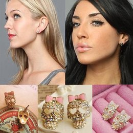 Wholesale Vintage Rhinestone Crystal Skull Pink Bow Bestey Johnson Earrings Lady