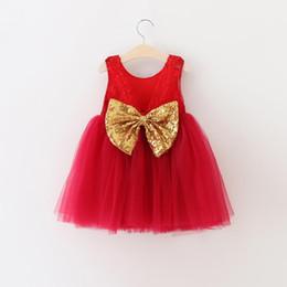 Acheter en ligne Nouvelles robes de filles de noël-Robe de Noël Bébés filles 2016 Nouveau Automne Hiver manches Vêtements pour enfants Baby Girl Tutu Dress Flower Lace
