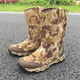 Wholesale Men Waterproof and Insulated Pull on Camouflage Hunting Boots Outdoor Boots Jungle Boots Anti Stabbing